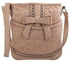 Womens / Girls Cross Body Bag Lace and Bow Detail / Purse Messenger Handbag