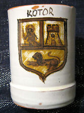 Lovely hand made Pottery Tankard with the coat of arms of Kotor in Montenegro