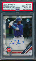 PSA 10/10 MIGUEL AMAYA AUTO 2019 Bowman Chrome Autograph Rookie Card RC GEM MINT