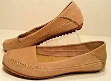 HUSH PUPPIES Moyen Khaki Tan Leather Slip-On Ballet Flat Loafers Shoes Womens 9M