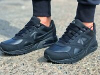 NIKE AIR MAX IVO LTR Trainers Leather Casual 'Triple Black' - Various Sizes