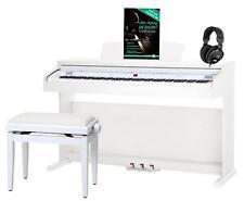 Pianoforte Digitale 88 Tasti Pesati 14 Voci Panchetta Cuffie USB Bianco Opaco
