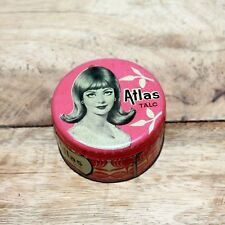 Vintage Beautiful ATLAS TALC Marked Advertising Tin Box ADV EHS #40