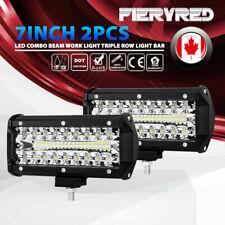 2Pcs 7Inch 160W LED Work Light Triple Row Spot Flood Beam Offroad Driving Lights