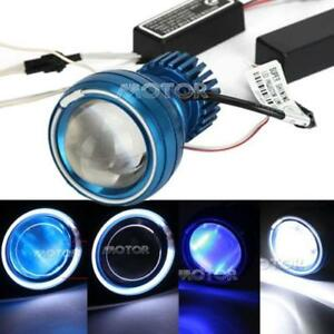 Motorcycle Hi/Low Beam LED Projector Headlight White Angel Blue Devil Light