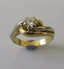Secondhand 18ct Yellow Gold Single Diamond 0.30ct Swirl Ring Size J
