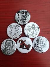 "1.25"" Robert Crumb pin back button set of 6 R Crumb"