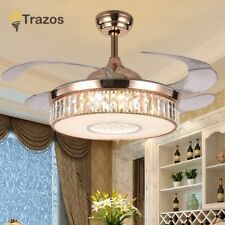 LED Crystal chandelier fan lights living room modern fan with remote control