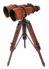 Marine Nautical Brass Telescope Binocular With Wooden Tripod Stand Desk Telescop