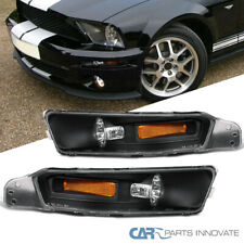 Ford 05-09 Mustang Replacement Turn Signal Front Bumper Lights Lamps Black Pair