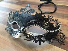 Venetian Masquerade Mask Filigree Black Silver Metal Diamante Ball Halloween