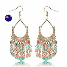 Women Retro Boho Mint Green Beads Party chandelier Earrings Ear Hook Drop Dangle