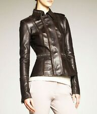 """$3,995 Burberry Prorsum Fringe 12 (~ 38"""") Leather Jacket Coat Moto Women Lady A"""