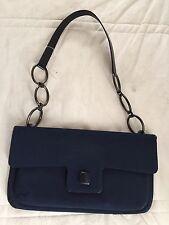 "Stuart Weitzman Dark Blue Leather Chain Fabric Shoulder Envelope Bag 11 x7x0.7"""