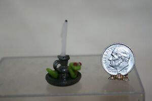 Miniature Dollhouse Pewter Candlestick w Candle & Snake w Red GLOWING Eyes 1:12