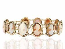 Art Deco 585 Gelb Gold Muschel Gemmen antiker Damen Armband 19,0 cm 17,4 gr