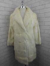 Vintage 1960s Ladies Long Ivory White Real Fur Bridal Wedding Jacket Coat 10/12