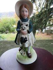 """Vintage 1973 Holly Hobbie Ceramic Porcelain Figurine- Holds Cat ~ 8.0"""""""
