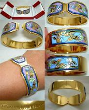Michaela Frey Wille Floral Butterfly Flower 24K Enamel Contessa Clasp Bangle New