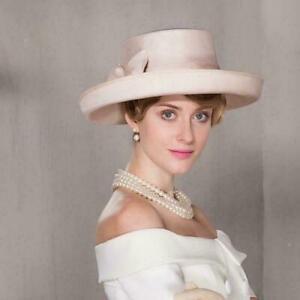 Women's Kentucky Derby Church Wedding Noble Dress linen feather organza hat MOON
