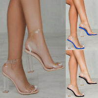 Women Ankle Strap Sandals Clear Transparent Block High Heels PVC Party Shoes NEW