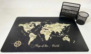 Schreibtischunterlagen Set Map of the World mit Stifteköcher u Briefhalter