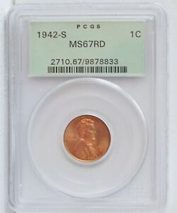 1942-S Lincoln Cent PCGS MS67RD OGH  #PJ616