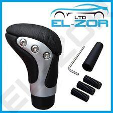 Cromo Negro Cuero Gear Shift Knob Stick Manual De Palanca De Cambios Selector De Palanca De Cambio