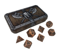 Dwarven Chest with Antique Brass Color with Black Numbers Metal Dice (7 Die Set)