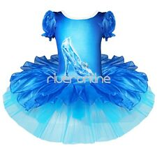 Girls Crystal Shoes Ballet Tutu Ballerina Fairy Dance Costume Fancy Dress 2-7Yrs