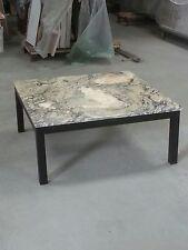 Verde Versilia marble topped coffee table 100x100cm  on black steel frame.