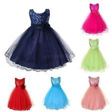 Kids Girl Princess Sleeveless Dress Child Sequin Flower Party Tulle Tutu Dress