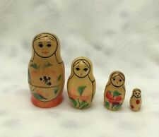 "Vintage Set of 4 Russian? Girl Nesting Dolls Unmarked Wood Wooden 2.75"" Tallest"