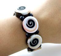 Eight Natural Eye of Shiva Shell Beads Stretch Cuff Bracelet Women Jewelry DA086