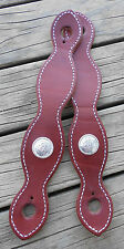 HEAVY DUTY MACHINE CUT SLOBBER STRAPS WITH CONCHOS and STITCHED EDGES