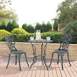 Mesa+ 2 Sillas Hierro Fundido Antiguo Oscuro Verde Bistro Set Jardín Conjunto de