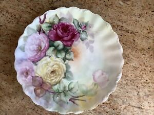 T&V Limoges France Large Hand Painted Charger Plate