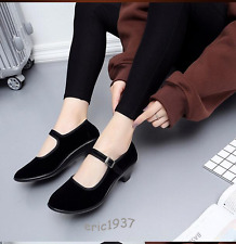 HOT WOMENS SHOES ANKLE STRAP BUCKLE MID HEELS BLOCK BLACK COMFORT DANCE SHOES