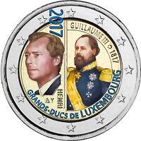 Luxemburg 2 Euro 2017 Großherzogs Wilhelm III bankfrisch in Farbe