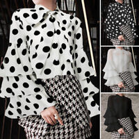 Women Long Sleeve Button Down Shirt Tee Top Tie Neck Plus Size Polka Dot Blouse