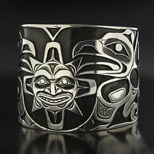 "Wide 2"" Raven Steals the Sun Hand Carved Overlay Cuff Northwest Native Bracelet"