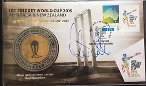 Steve Smith SIGNED 2015 ODI World Cup Stump Medallion & Stamp PNC/FDC. Australia
