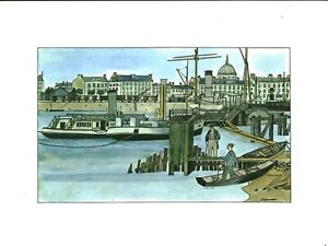 Fac-similé d'aquarelle de J. Bruneau Nantes du bon vieux temps planche no 4