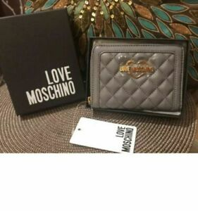 NWT Love MOSCHINO Grey QUILTED Clutch Wallet Borsa NEW COLLECTION Nice Gift