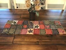 NEW Homespun PriMiTivE Rag Quilt Table Runner Multi color Patchwork Stars Plaid