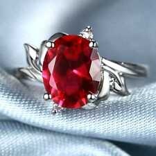 QCNL33 Handmade 5.0CT Natural Ruby 14K White Gold Ring Size US 7