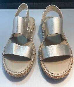 Cole Haan Womens Espadrille Sandals 7 B Soft Gold Grand Os Pinch