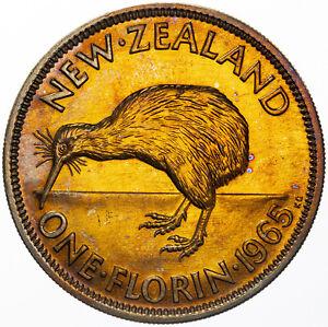 1965 NEW ZEALAND 1 FLORIN UNC BU INTENSE ORANGE YELLOW COLOR TONED LUSTER (MR)