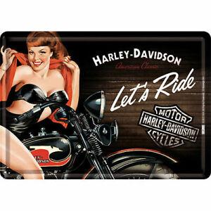 Nostalgique Type Carte Postale en Tôle / Métal Harley Davidson Let ´S Ride Biker