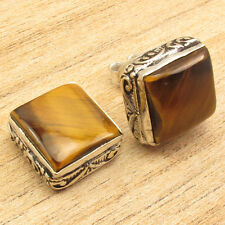 Birthstone Jewellery !! 925 Silver Plated TIGER'S EYE SQUARE STUD Earrings 0.5""
